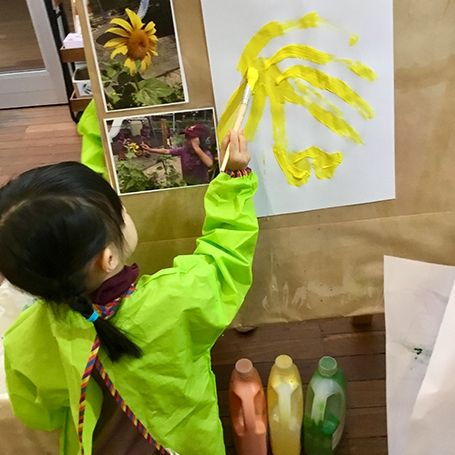 Gallery Image Template 0004 Charis painting a sunflower from our garden